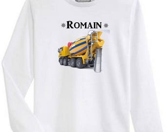 T-shirt boy long sleeve top truck personalized with name