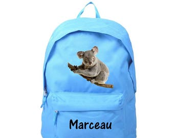 bag has blue Koala personalized with name