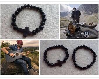 """Man bracelet"" black wood beads with a HOWLITE cross bead"