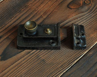 Antique Door Lock Brass and Metal Latch Plate Fastener, Sliding Lock, Rustic Architectural Hardware Salvage, Original Reclaimed Door Fitting