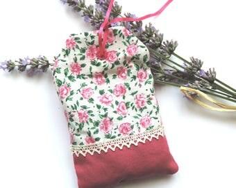 """Lavender sachet """"label"""" - floral fabric"""
