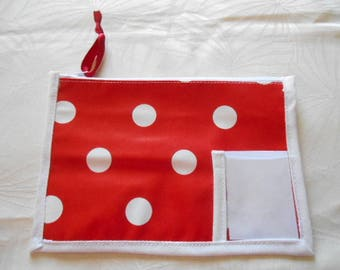 wallet with space to record name class name - Red polka dot oilcloth in oilcloth