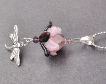 """""""Pastel Lotus - bordeaux and Dragonfly"""" silver necklace"""