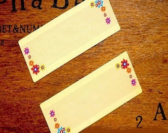 20 stickers, floral deco rectangular adhesive labels and aged effect 46 * 18mm