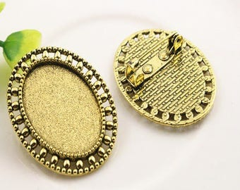 25 * 18mm; 2 gorgeous pins support oval cabochon 25 * 18mm antique gold