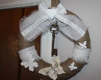 Burlap wrapped styrofoam wreath