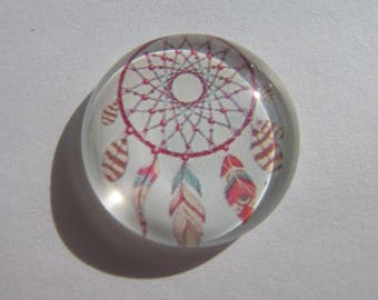 Cabochon 25 mm with image dream catcher and feathers