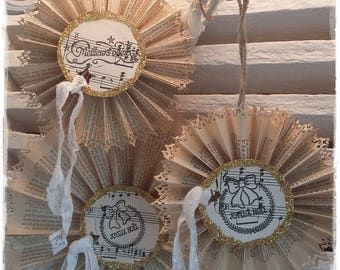 old paper and sheet music Christmas decoration