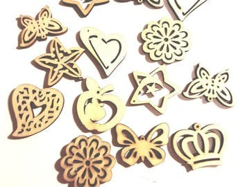 wooden 3 embellishments for scrapbooking