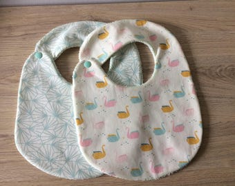 baby bib personalized origami swans Green
