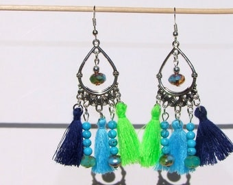 Native American Inspiration Peru natural turquoise dangle Czech crystal and tassel