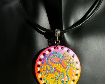 Necklace pendant leather Choker wood inspired painting Australian multicolored Gecko