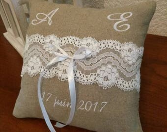 wedding ring bearer pillow / personalized ring bearer: linen and vintage lace of calais