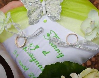 Visit my shop, many designs of silver wedding ring bearer pillow / ring pillow custom