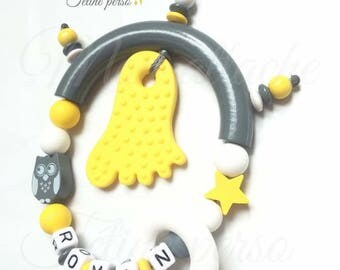 "Special teething rattle personalized ~ model OWL ""Roman"""