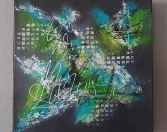 Modern original acrylic painting lime turquoise 30 x 30 3D