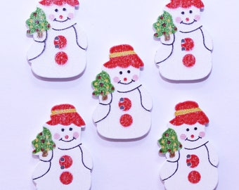 Button Christmas wooden - 22mm - set of 10 snowman - 2521