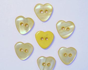 Heart 15mm set of 10 buttons: yellow - 002213