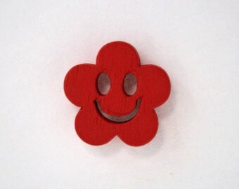 Button wood face smile from 19 mm x 10 Flower: Red - 001887