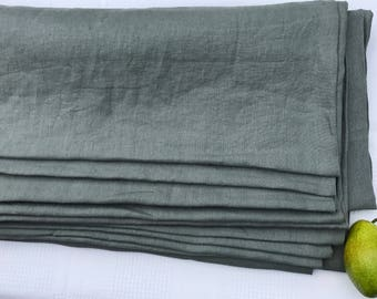 Gray linen fabric , stonewashed linen, 100% pure linen from Lithuania, prewashed and softened linen farbric , all-purpose