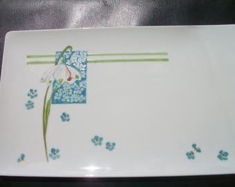 rectangular platter or tray art nouveau pattern handpainted on porcelain