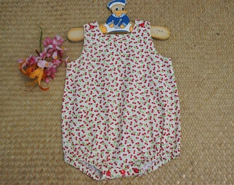 Green cotton cherry print romper size 1 year