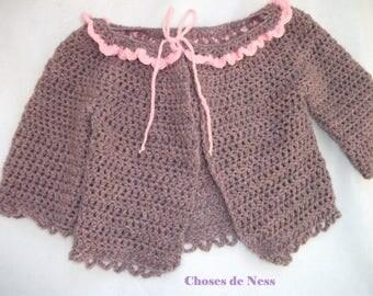 Long sleeves, collar ruffles size 3/6 months hand crocheted.
