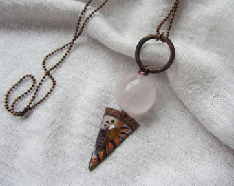 fantasy necklace orange and purple enameled copper triangle, large quartz gemstone bead light pink and copper ring