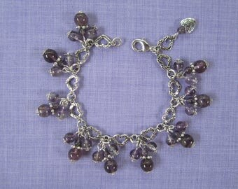 Amethyst charm bracelet and silver heart chain