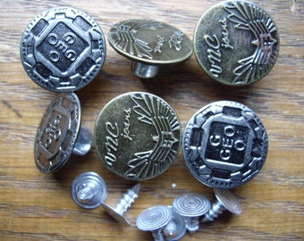 SET OF 6 BUTTONS AUTOMATIC PRESSURE 17MM EASY HABERDASHERY SEWING JEANS PANTS