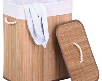 Fashionable Real Bamboo Laundry Basket Clothes Bin Storage Box
