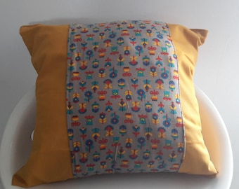 Multicolored flowers and 40x40cm mustard Cushion cover