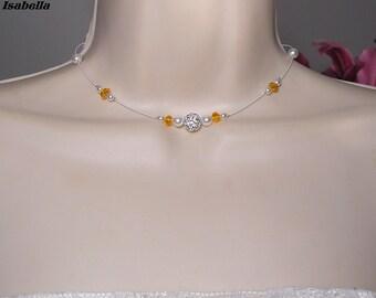 Beads - Classica Isabella Collection - white orange bridal wedding jewelry wedding necklace, wedding, bridal necklace, Bridal wedding dress