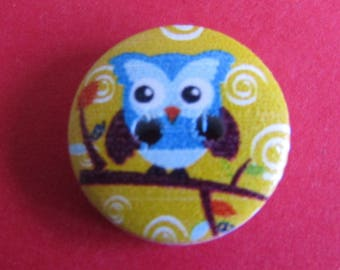 OWL 15mm in diameter scrapbooking or sewing wooden button