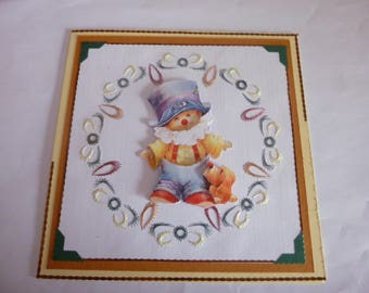 """2017110 embroidered birthday card """"clown"""""""