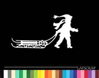 1 cut boy sledding Christmas scrapbooking embellishment die cut scrap album deco