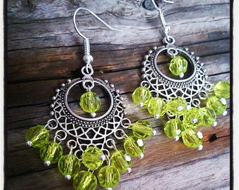 Earrings silver and green faceted beads
