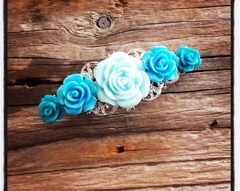 Blue tones, accessory flower hair clip wedding, vintage wedding hair