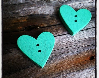 button heart sewing wooden turquoise 2.3 cm x 2.4 cm x 4 mm