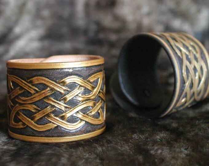 Medieval Celtic mixed black/bronze Brown embossed leather bracelet