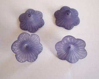 2 flat opaque purple lucite flower beads