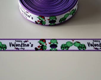 "Ribbon grosgrain ""happy valentine TURTLE"" 22mm"