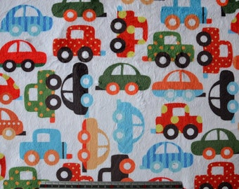 """Little cars"" Michael Müller printed velvet minkee fabric"