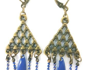 Blue triangle earrings