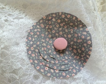 Flower 11 cm grey cotton fabric