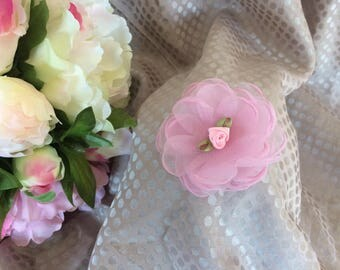 Flower 6 cm organza rose with small flower