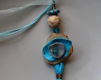 """Pendant necklace, boho Chic, Turquoise necklace, tassel """"Azel"""", gift idea"""
