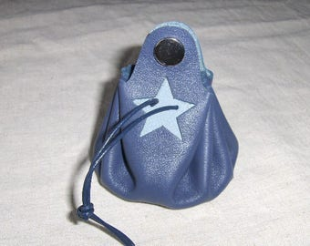 Coin purse is handmade blue leather