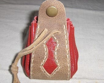 Medieval natural red and stitched leather purse handmade