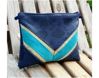 Pouch bag Navy Blue, turquoise sequin gold faux leather, Komodo Dragon and suede lines graphiquse Golden - after the beach